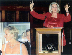 Lorna Kelly charity auctioneer: auctioning a necklace worn by Princess Diana Spencer